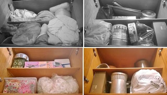 organização de ambientes: Antes e depois do descarte de objetos