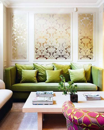 Happy habitat wallpaper panels for Apple green living room ideas