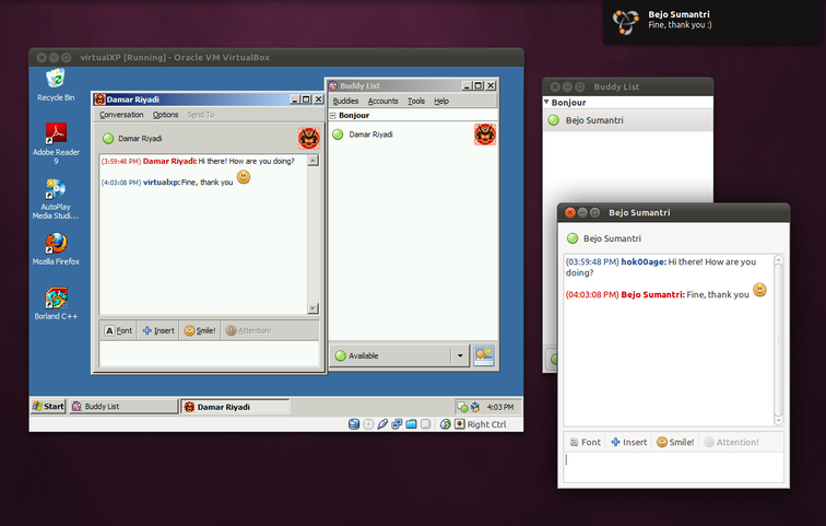 Chat antara Ubuntu dan Windows
