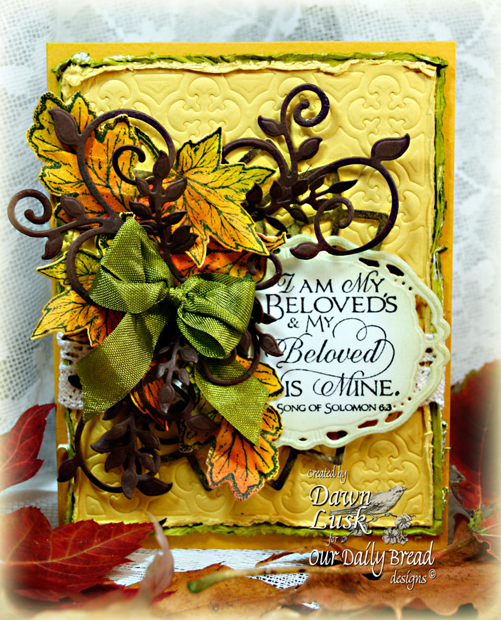 Stamps - Our Daily Bread Designs Autumn Blessings, Scripture Collection 10, ODBD Custom Fancy Foliage Dies, ODBD Custom Fall Leaves and Acorn Die, ODBD Custom Quatrefoil Pattern Die