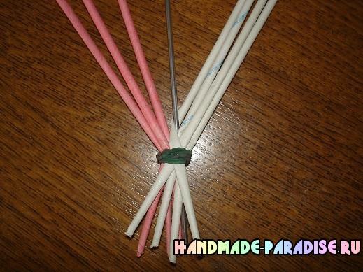 Плетение ручки для корзинки из газет