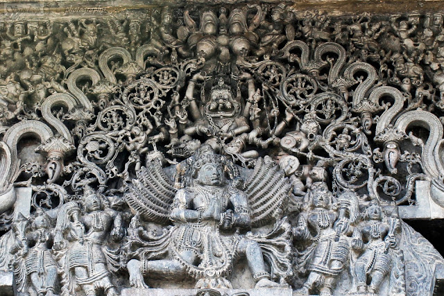 Lintel sculptures on the east entrance(Main) further close up to show up the Narasimha and Garuda below that