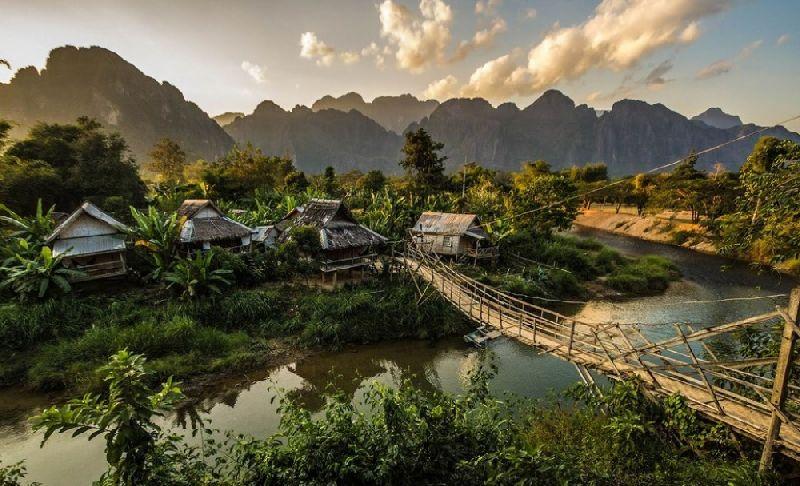 Tiny towns Vang Vieng, Laos