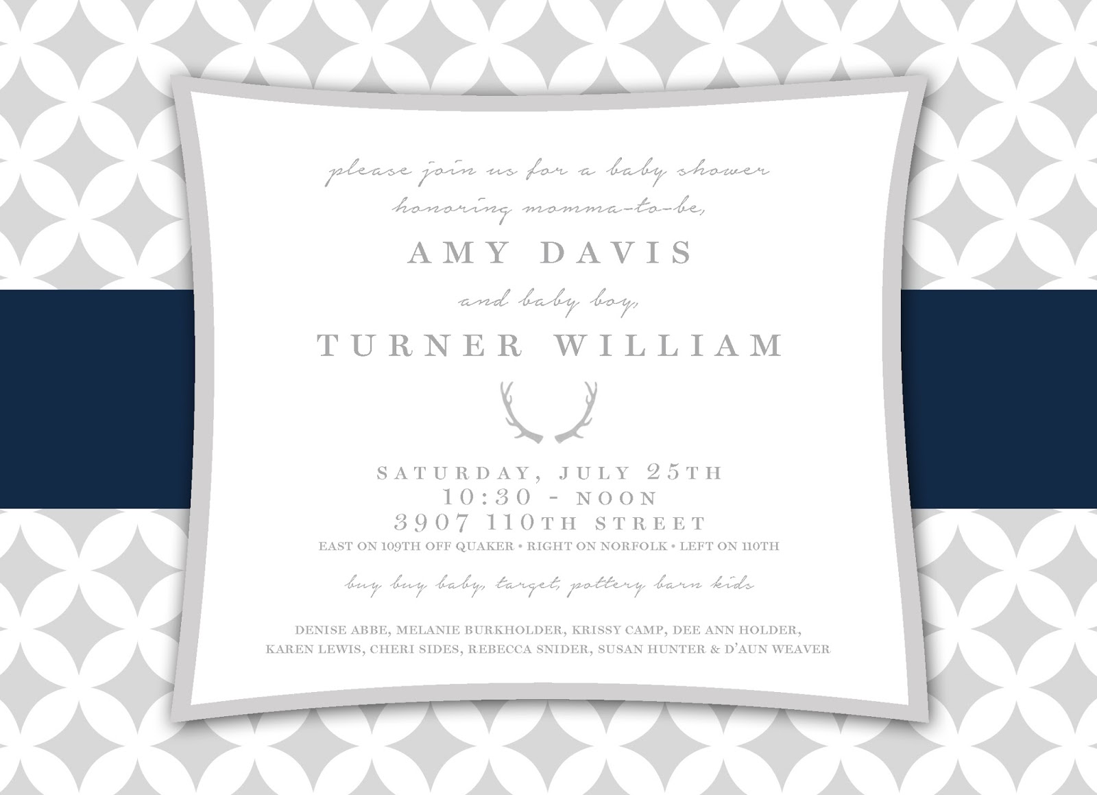 You\'re Invited!: Blue+Grey Baby Boy Shower