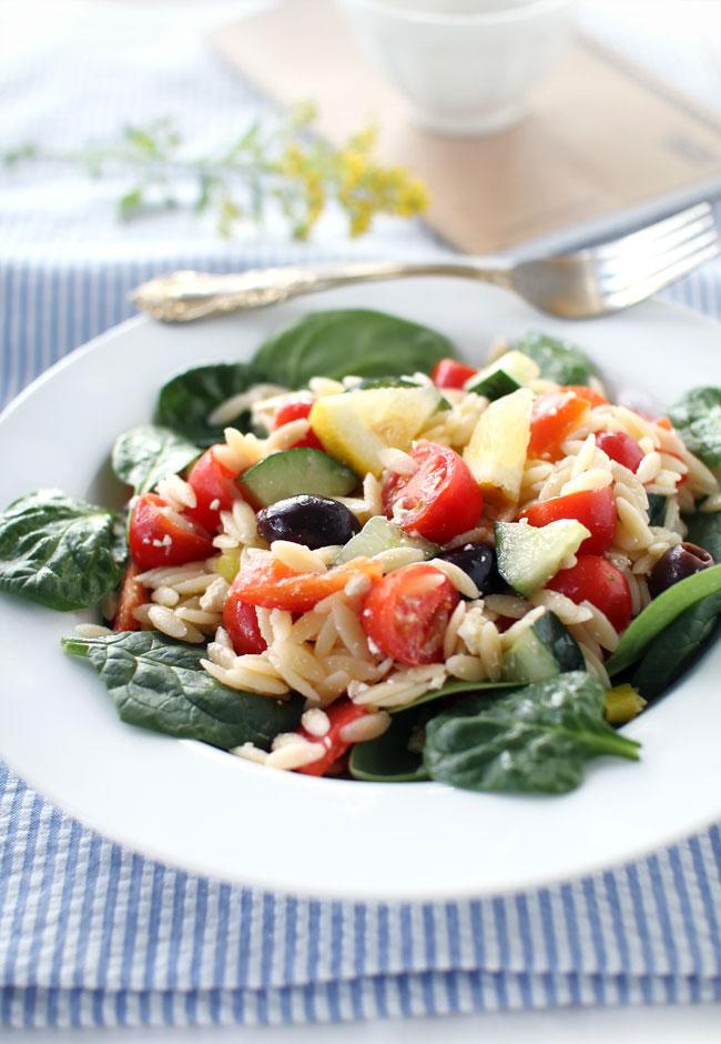 Mediterranean Orzo Spinach Salad | Flourishing Foodie