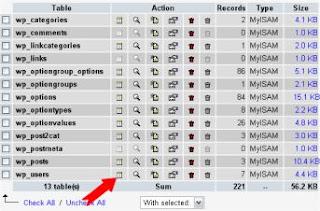 Step 1 - reset user password in Wordpress using phpMyAdmin