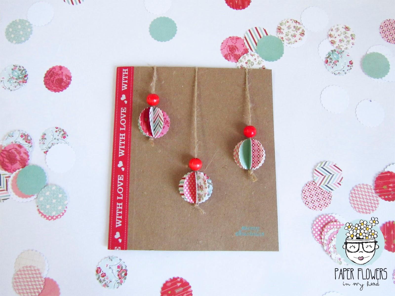 tarjetas de navidad 3d reciclando material paper flowers in my head - Tarjeta De Navidad En 3d