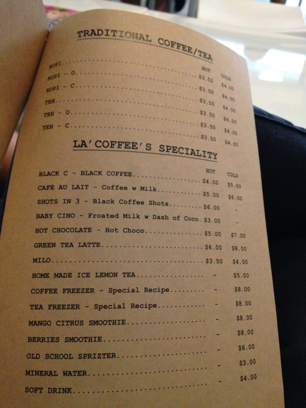 Lacoffee Menu Page 4
