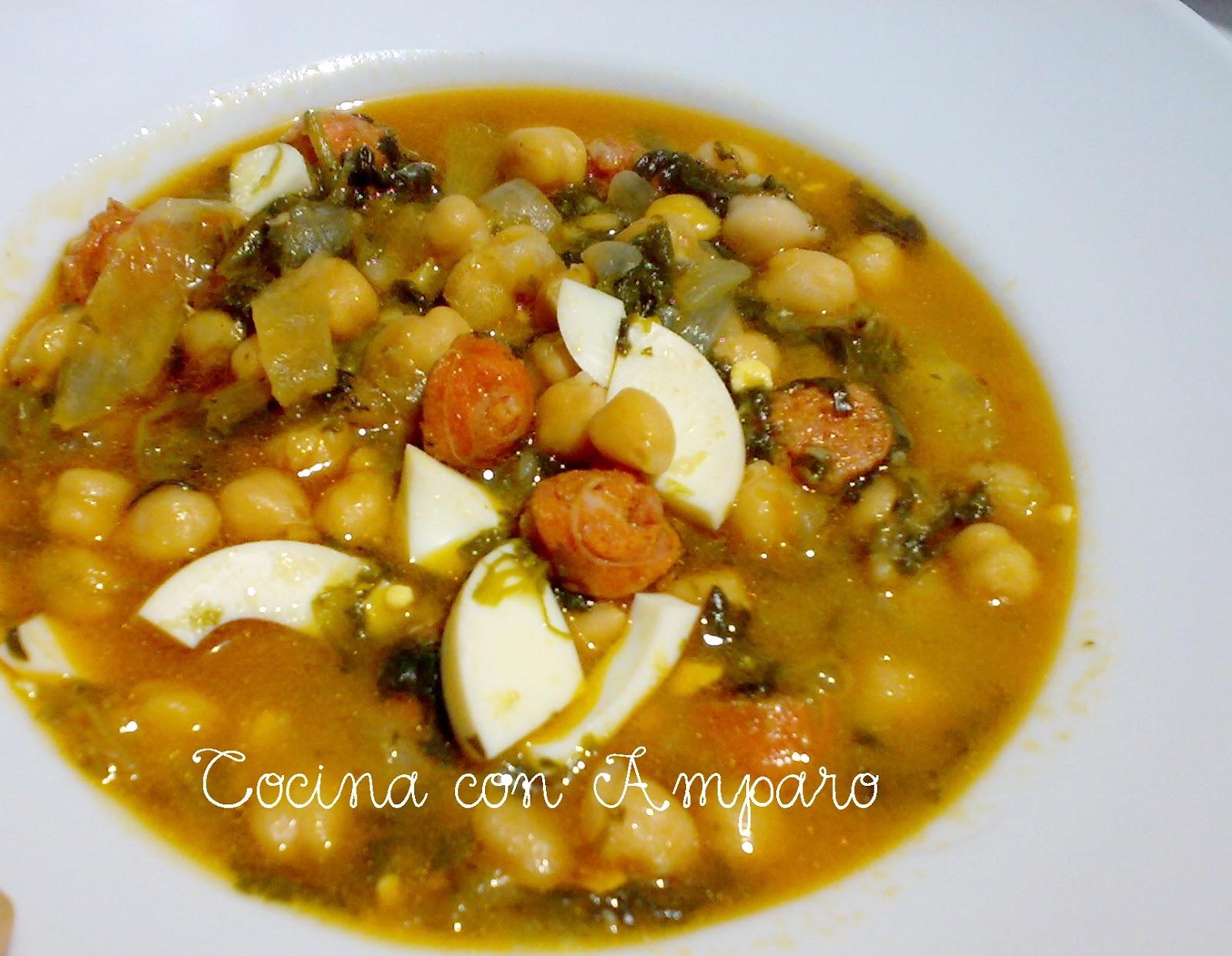 Potaje de garbanzos cocina con amparo - Potaje de garbanzos y judias ...