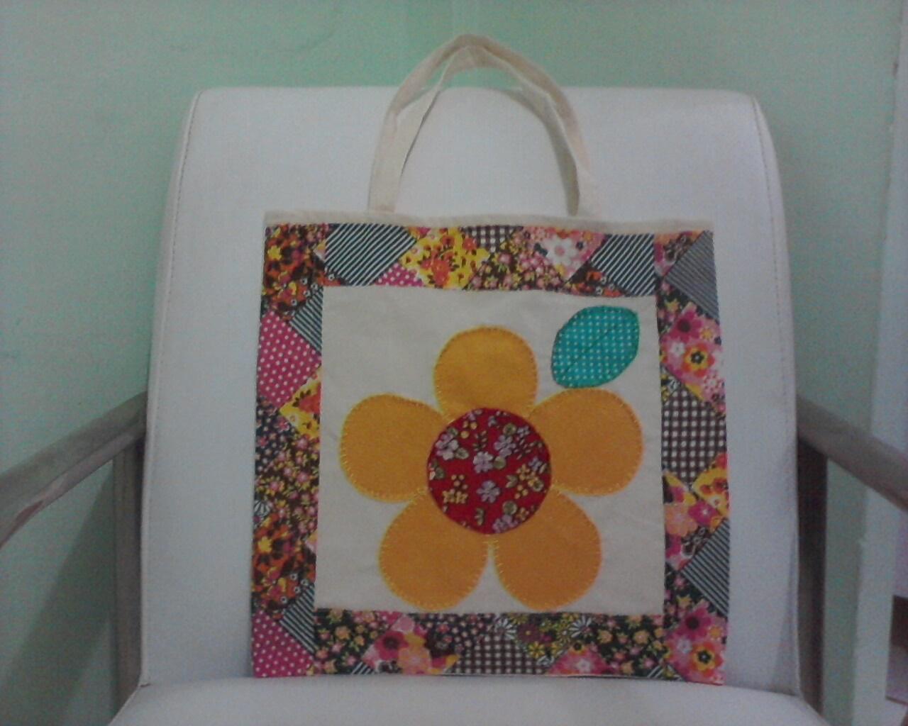 Bolsa De Tecido De Algodão Cru : Art brinc bolsa de algod?o cru e aplique flor