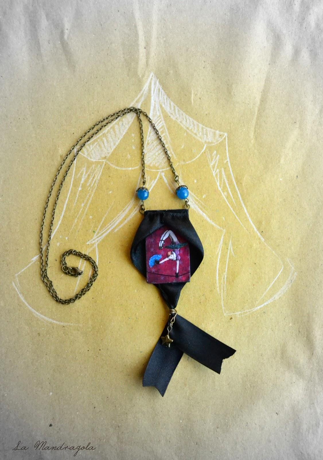 Night Circus - acrobat - freak show - necklace - violet -  la mandragola - Flavia Luglioli - illustration - victorian - etsy - circus - carnival - carousel
