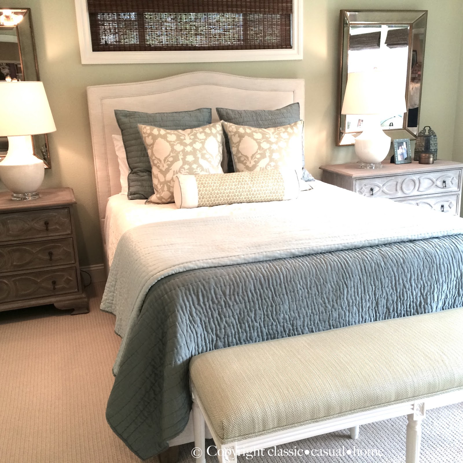 Classic casual home soft green and aqua blue master for Pottery barn bedroom designs