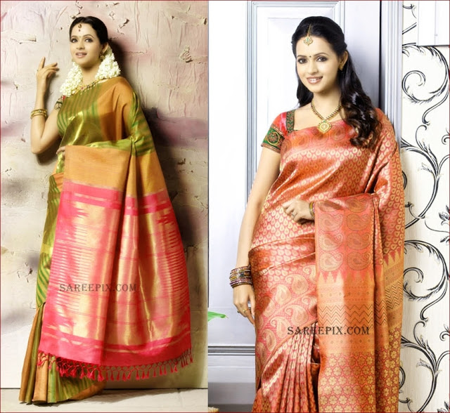 Bhavana in green and pink saree photos