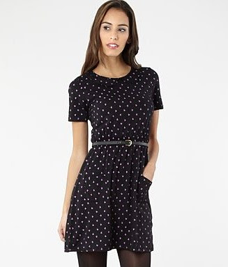 Black heart print jersey dress