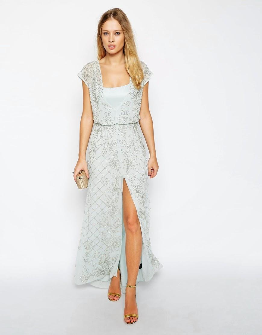 light blue silver embroidered maxi dress, needle & thread maxi blue dress,