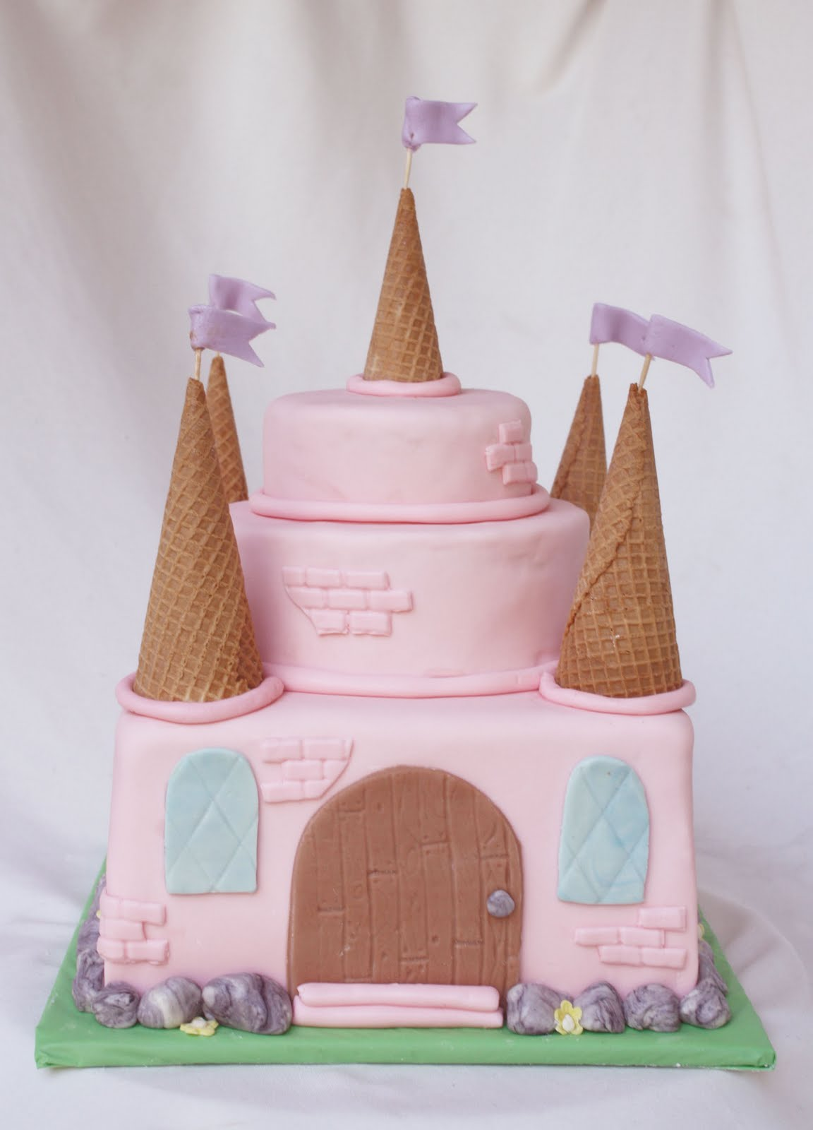 Girlie pink fairy princess castle cake with three also ...