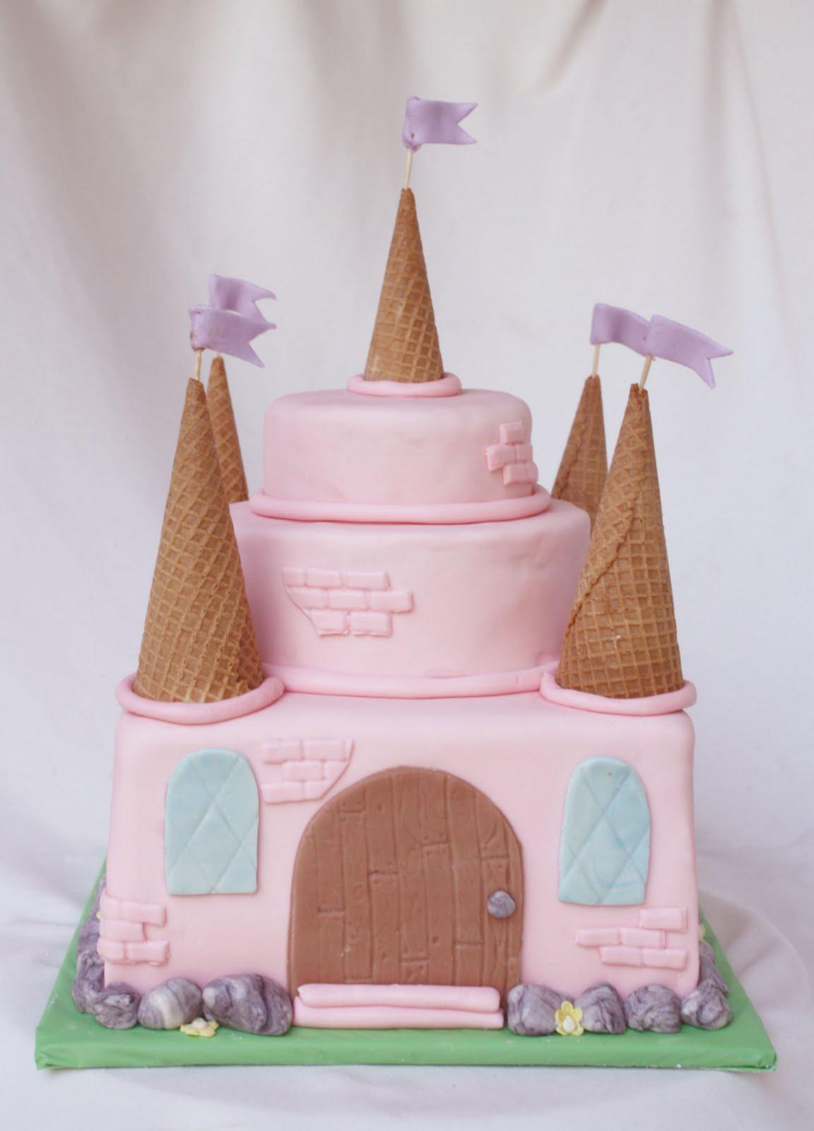Simple Princess Cake Design : Girlie pink fairy princess castle cake with three also ...