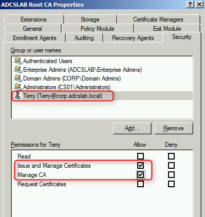 Terry lus blog duplicating all certificate templates and ca next to permissions for terry check allow issue and manage certificates and allow manage ca yadclub