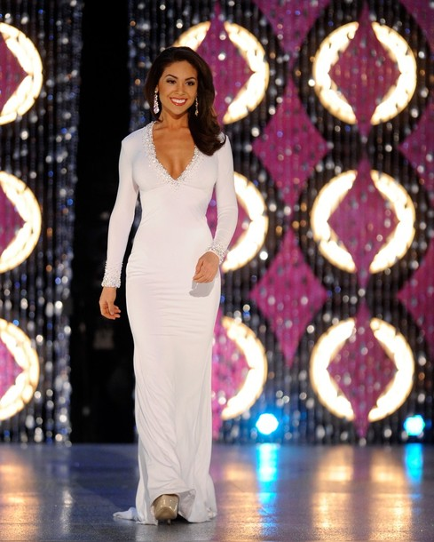 White long sleeve pageant dress