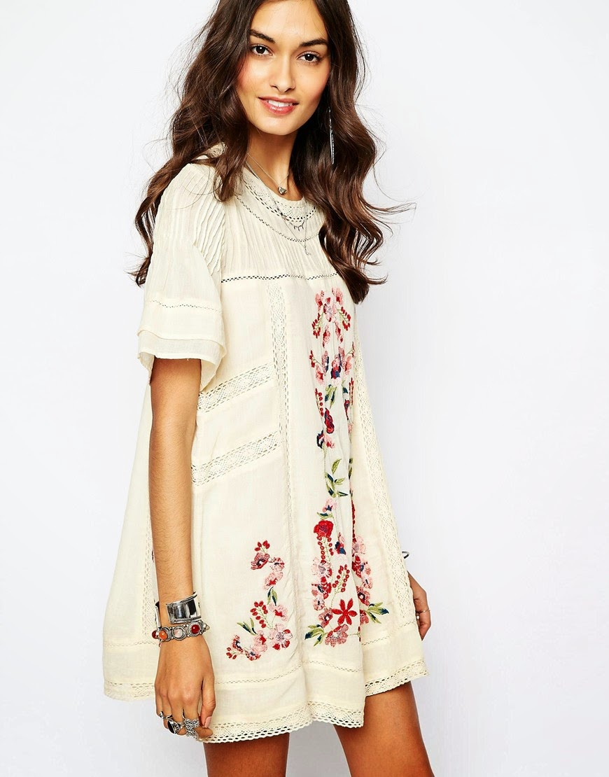 free people embroidered cream dress