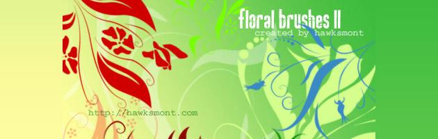色々種類が豊富で便利な花ブラシセット | 花や草がモチーフのフリーブラシ。商用可。