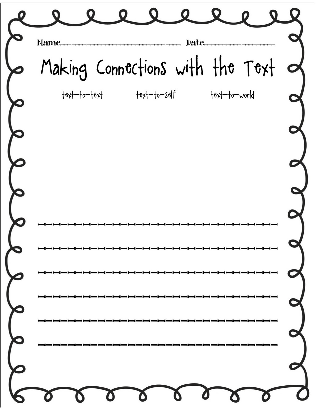 The Wizard of Boz Text Connection Freebie – Text to Text Connections Worksheet