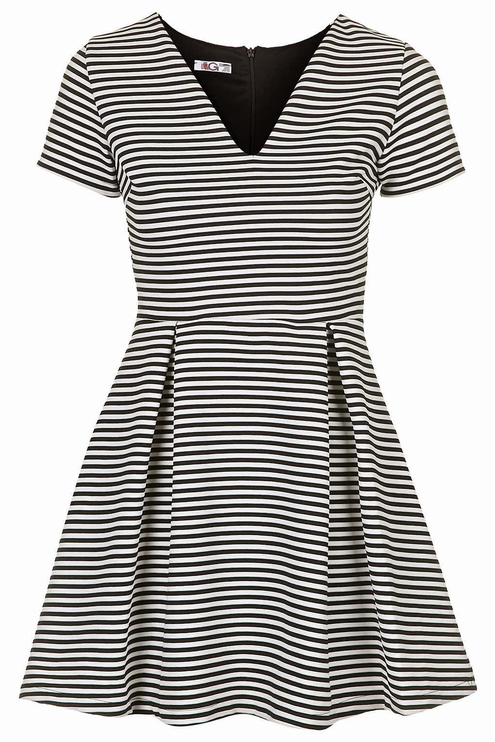 black white striped skater dress, striped WAL G dress,