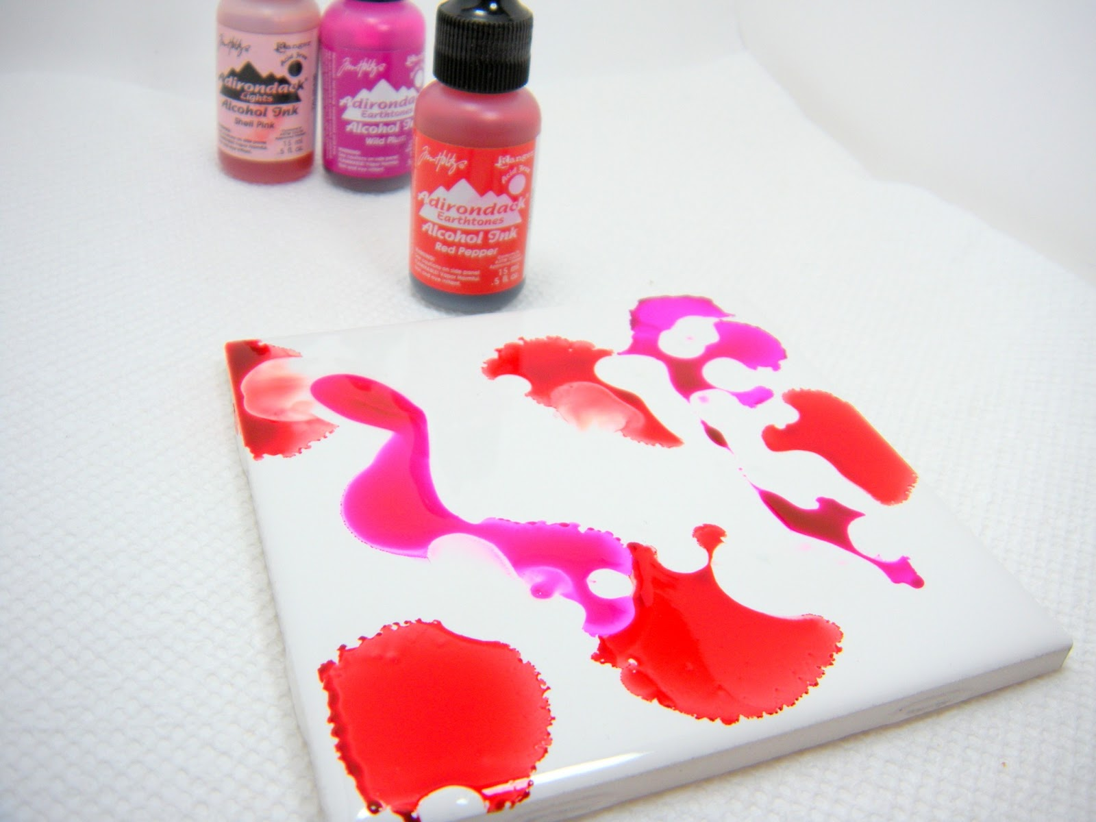 Accidentally excellent diy alcohol ink coasters 2 part tutorial finally i add in my shell pink and let it bleed out towards the red and the plum baditri Images