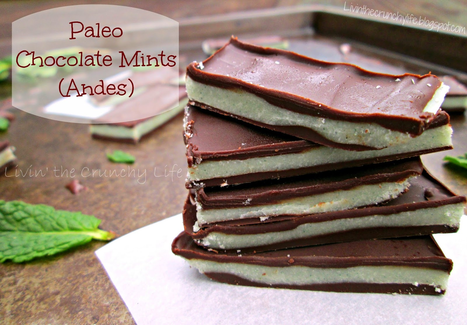 Paleo Andes Dark Chocolate Mints with coconut butter and natural green colors