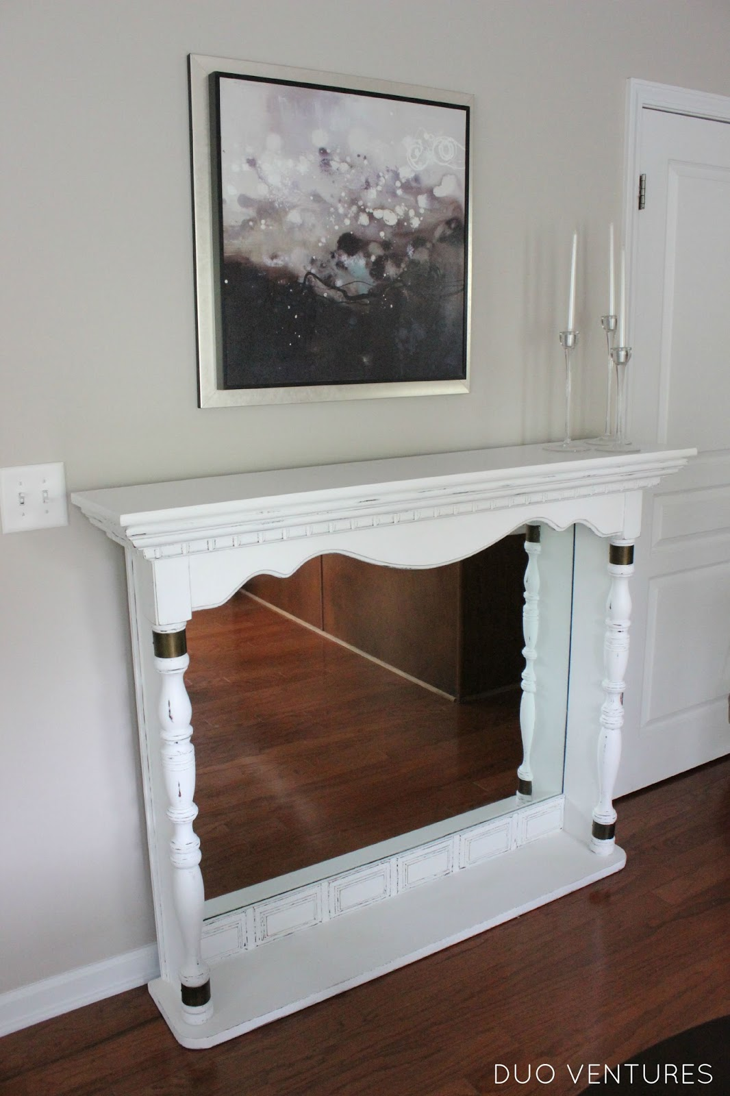 duo ventures dresser top to faux fireplace