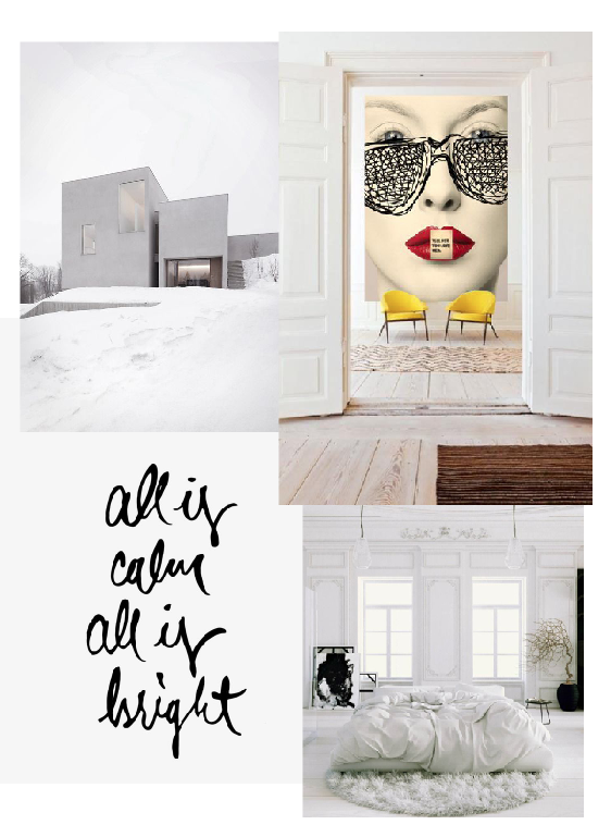 Lots of white with touches of bright colors... Modern and personal