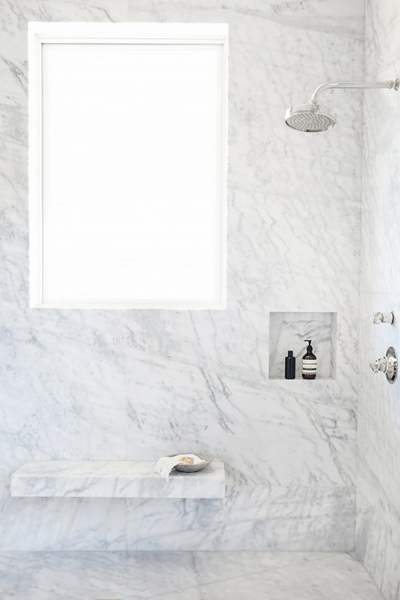 Floor to ceiling marble covered shower | My Domaine