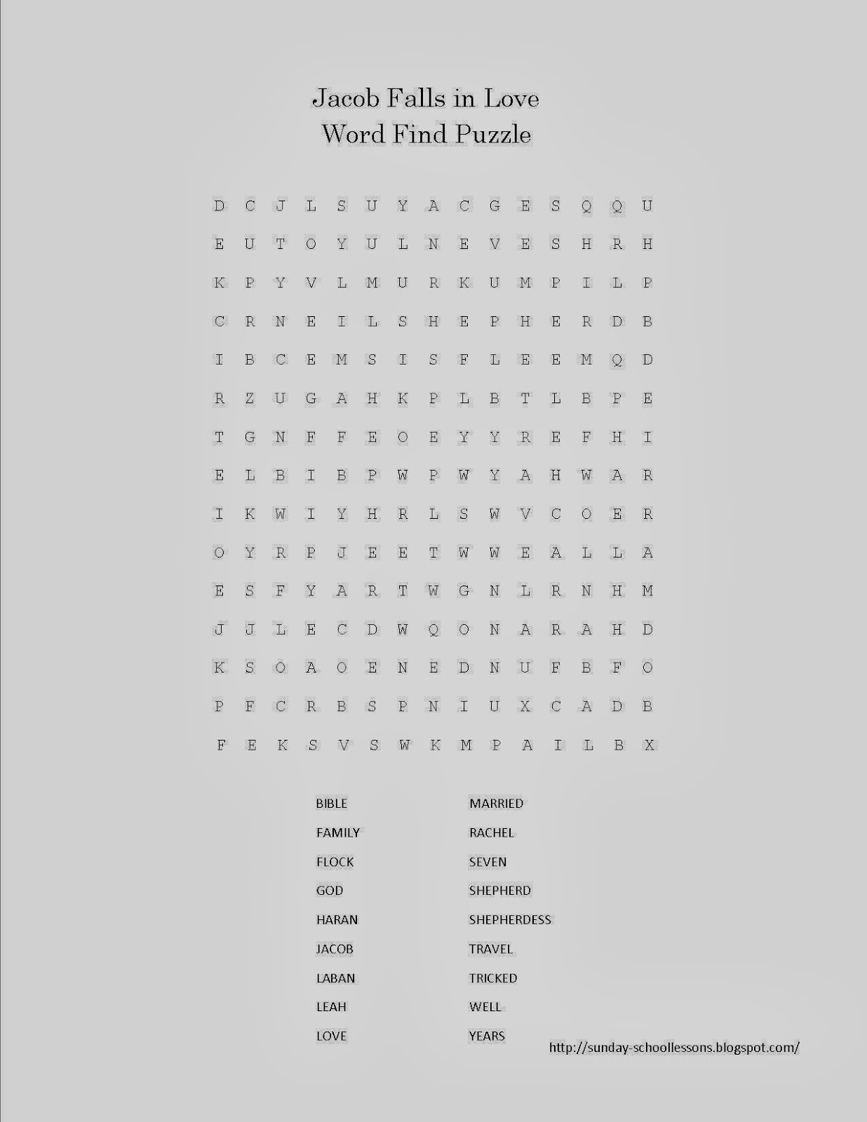 Jacob Falls In Love Word Search Puzzle FREE Sunday School Acivities