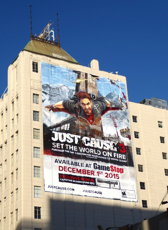 Giant Just Cause 3 video game billboard Hollywood
