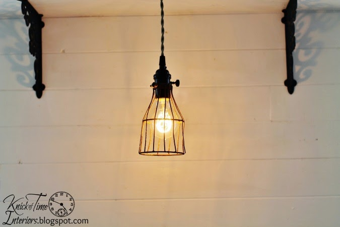 Vintage Repurposed Metal Cage Light via http://knickoftimeinteriors.blogspot.com/