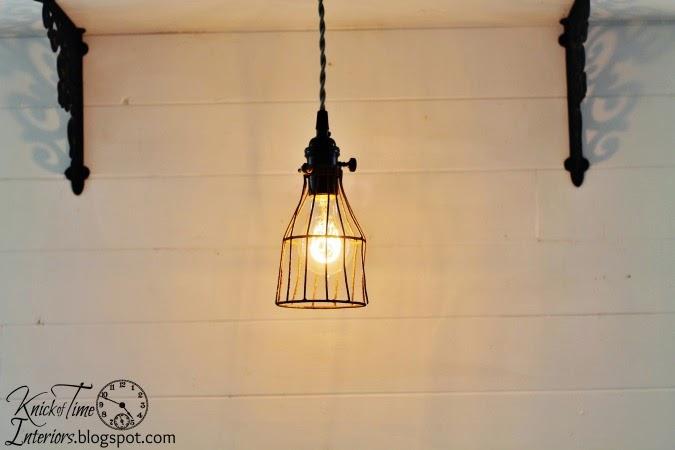 Vintage Repurposed Metal Cage Light via http://knickoftimeinteriors.blogspot.com/