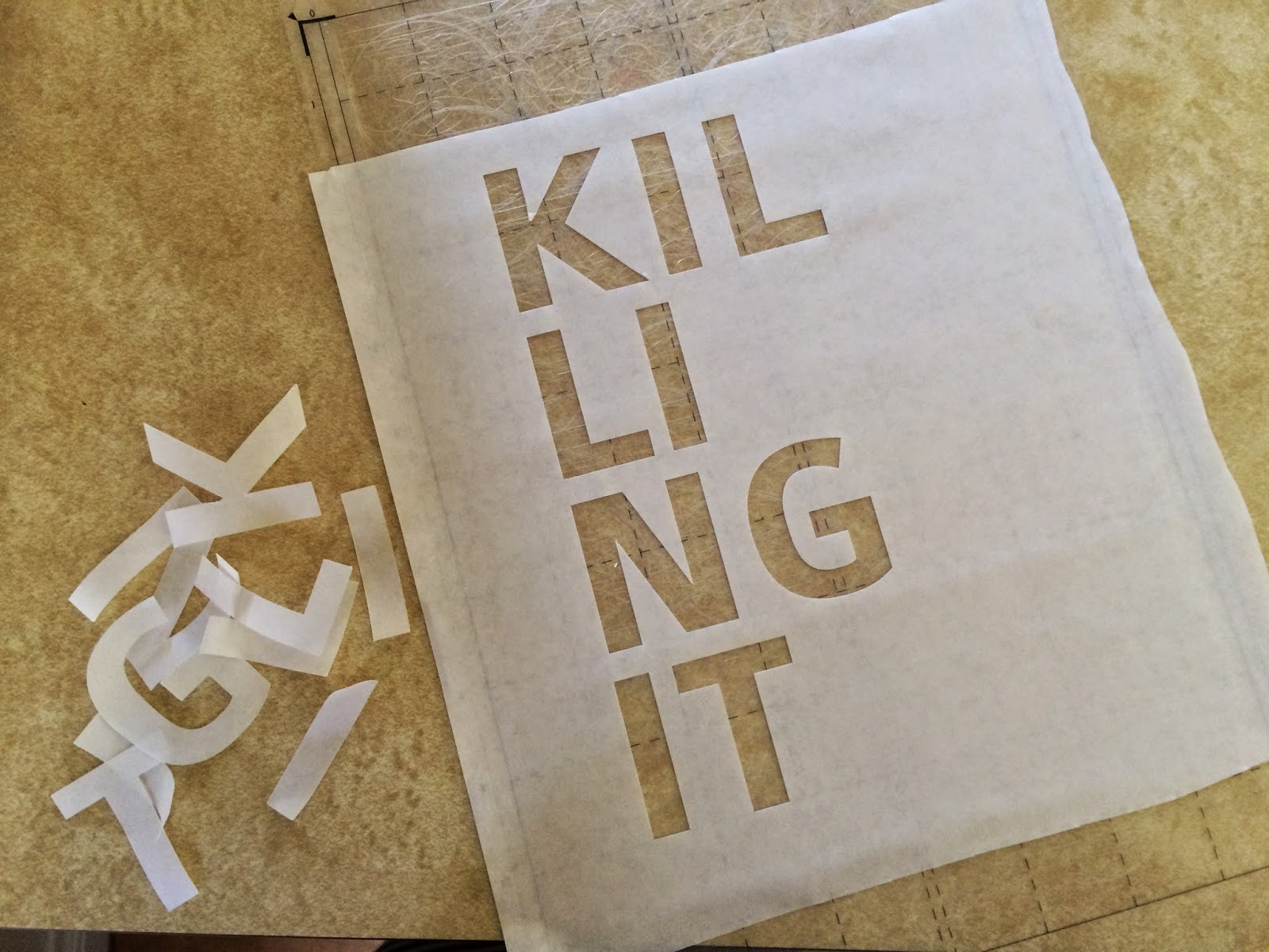 killing it stencil with freezer paper