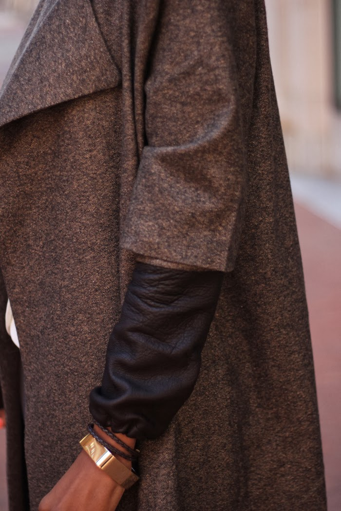 Coat made with Mood Fabrics' Italian wool and paired with leather arm warmers.