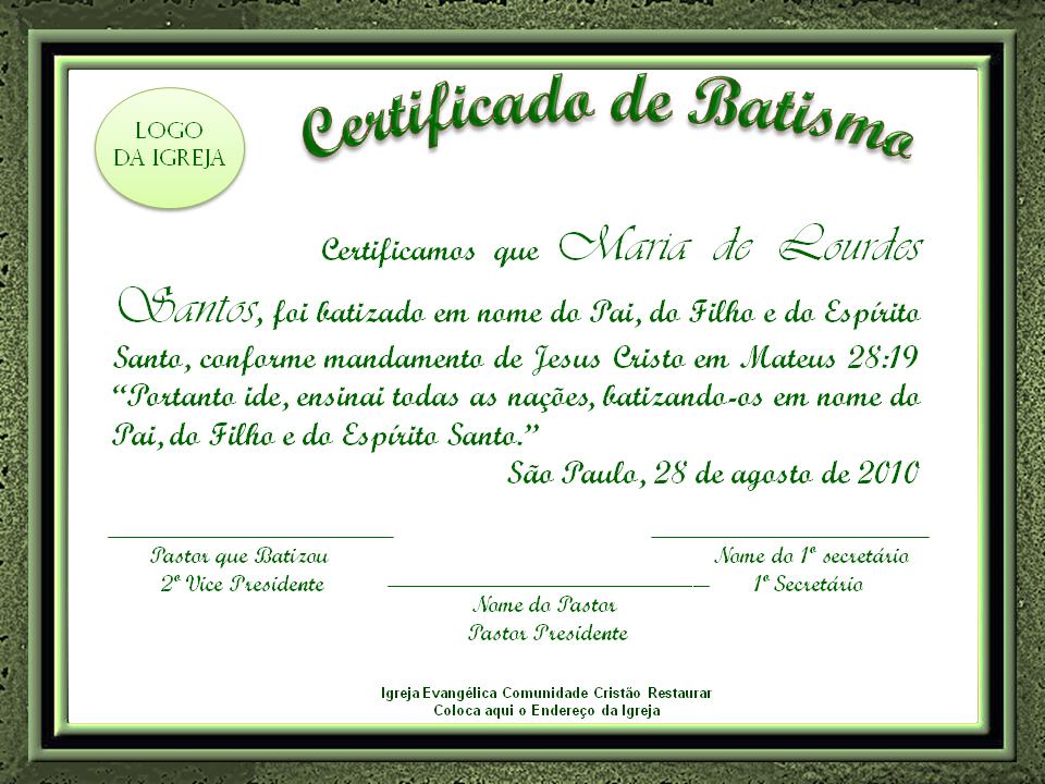 Adelia Brunelli: Certificado de Batismo