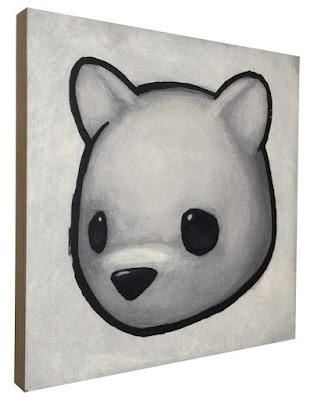 """Sad Bear (White)"" Print on Wood by Luke Chueh"