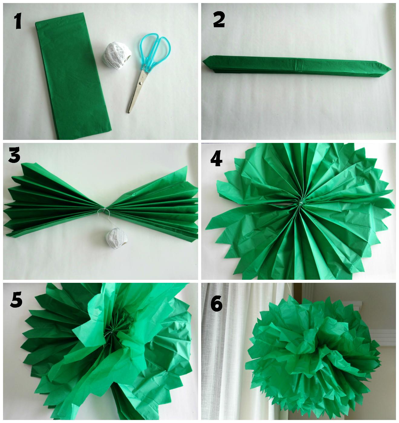 Pacto de tres pompones con papel seda - Como se hacen los pompones ...