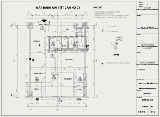 Mặt bằng căn hộ C* Chung Cư CT3 Tây Nam Linh Đàm
