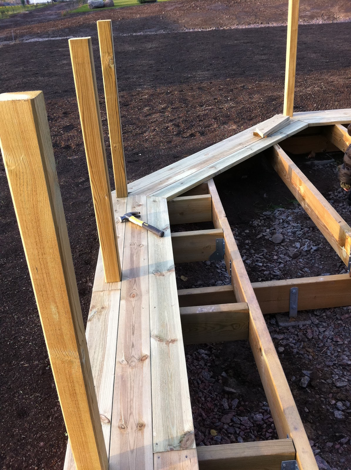 Eksjöhus 1 plans hus lyckan med vinkel, nybyggnation : altanbygge