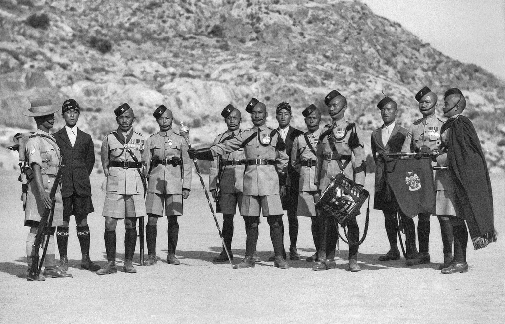 Orders of Dress, Malakand 1939. Hon Lt and Subedar Major Maniraj Rai is third from left Gorkha Rifles