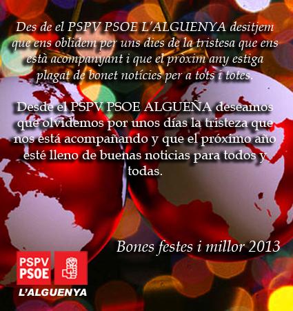 algueña alguenya psoe pp pspv socialistes socialistas 2013 Navidad Nadal