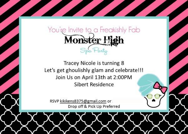 monster high birthday invitations template .