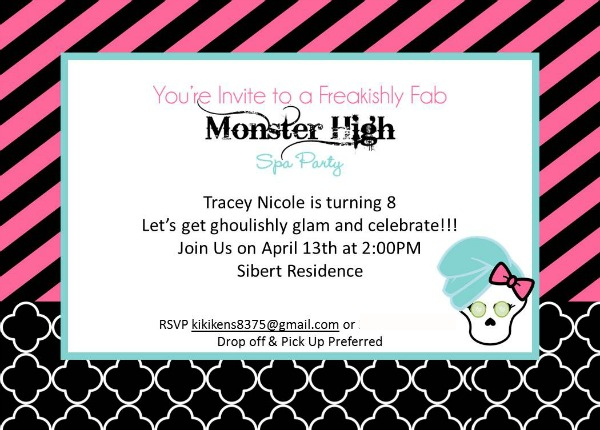Cupcake Wishes Birthday Dreams Pintastic Monster High – Monster High Birthday Invites