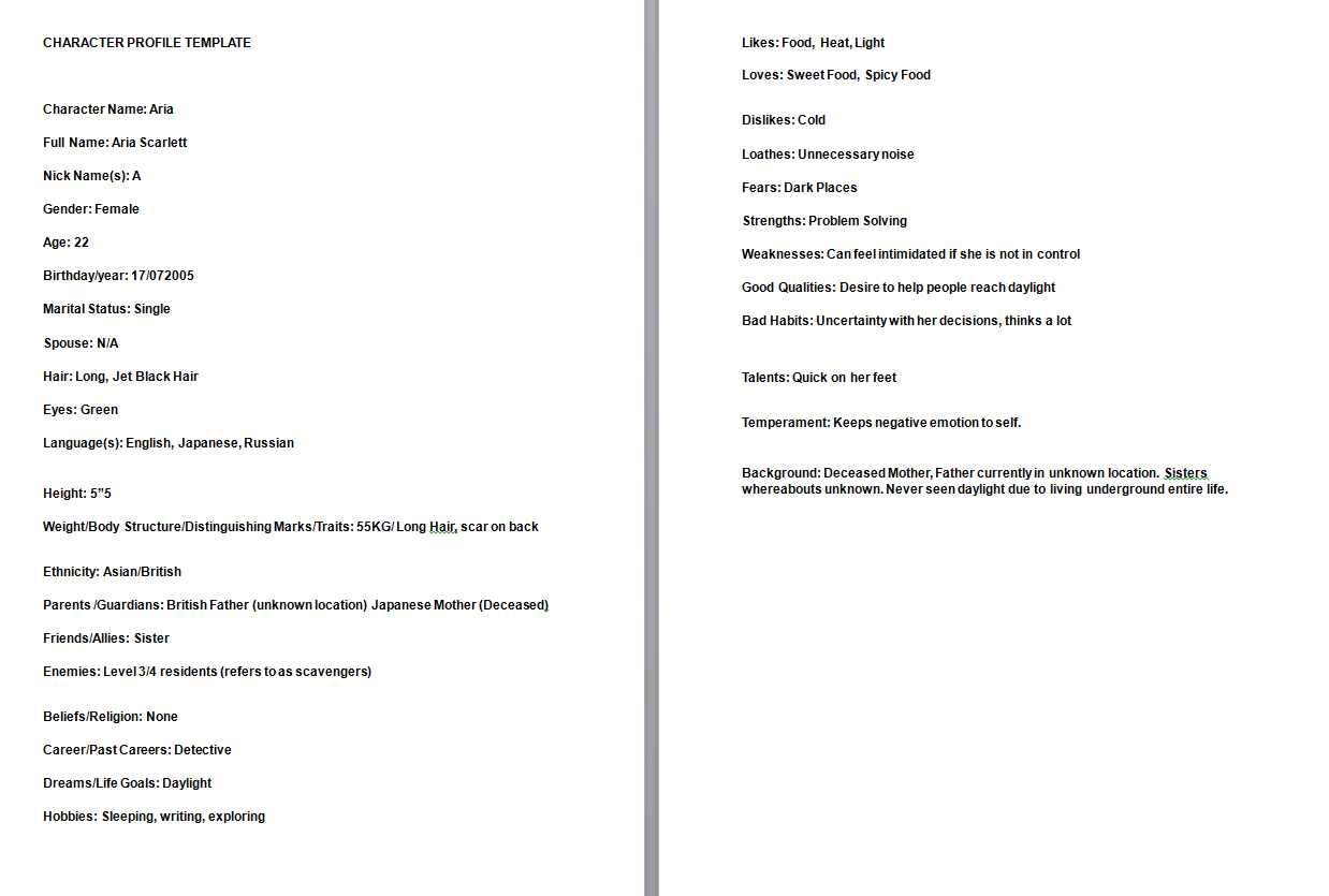 Outstanding Character Dossier Template Motif - Resume Ideas ...