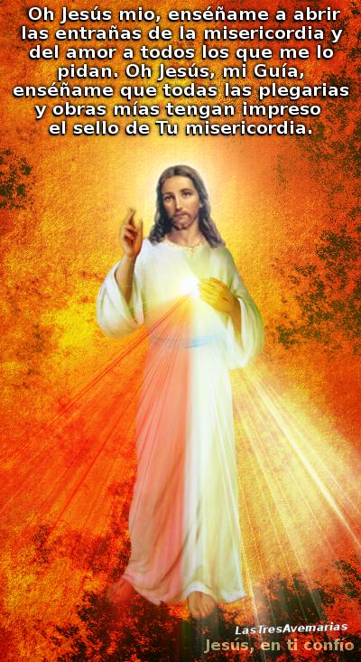 divina misericordia con oracion pidiendo a jesus que nos enseñe a amar