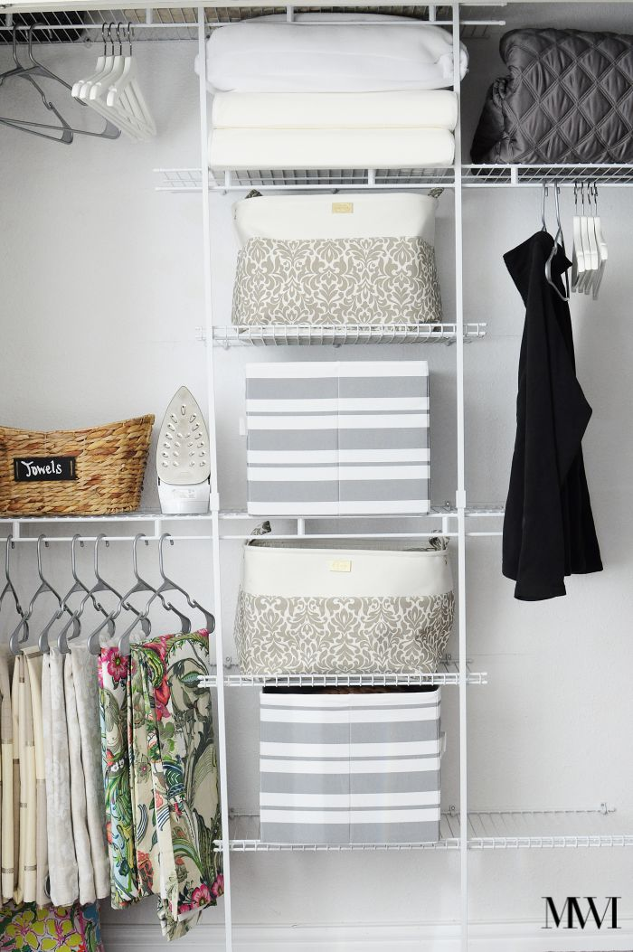 BHG striped gray grey storage bins closet